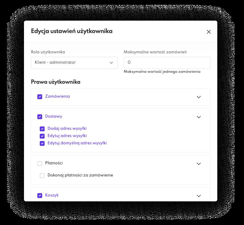 Zarządzanie uprawnieniami: prawa dla klienta w platformie e-commerce B2B Saly