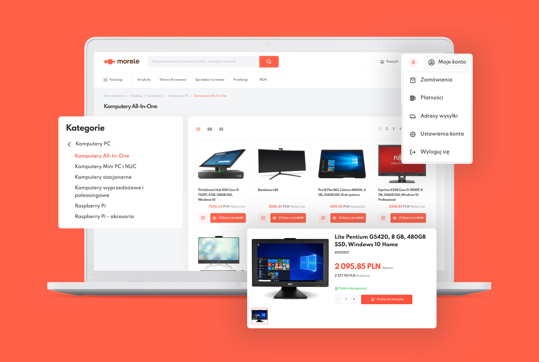 Platforma biznesowa dla Morele.net – katalog produktów
